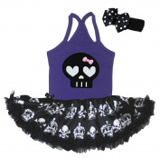 Baby Dress Skeleton Purple Halter Neck Bodysuit Crown Skull Tutu Set Nb-24m