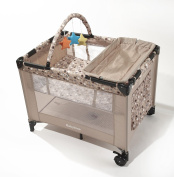 Big Oshi Deluxe Pack 'N Play Playard Nursery Centre with Full Size Bassinet, Beige Circles