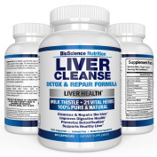 Liver Cleanse Support & Detox Supplement - 22 HERBS : Milk Thistle Extract Silymarin, Beet, Artichoke, Dandelion, Chicory Root, Yarrow, Jujube, Celery, Alfafa, Turmeric - Aid & Care for Liver Health