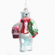 Kurt Adler CC4162 Glass Coca-Cola Bear Ornament with Wreath and Cooler, 11cm