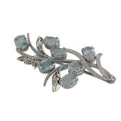 NOVICA Blue Topaz .925 Sterling Silver Brooch 'Blossoming Truth'