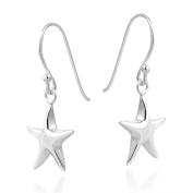 Silvery Simple Starfish 5 Point Star .925 Sterling Silver Dangle Earrings