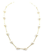 Freshwater White 7 mm Pearl Necklace,14k Yellow Gold Tubes
