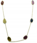Multi-Colour Sapphire 43cm Necklace with 14k Yellow Gold Cable Chain,5.6 Grammes