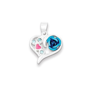 .925 Sterling Silver Pink Enamel With Lt Blue CZ Charm Pendant