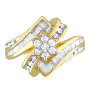 10kt Yellow Gold Baguette and Round Diamond Bypass Cluster Ring (3/8 cttw I-J Colour, I2 Clarity), Size 7