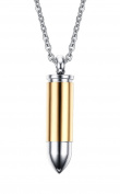 Stainless Steel Bullet Memorial Cremation Ash Urn Vial Tube Pendant Keepsake Necklace 60cm , Colour Gold Silver