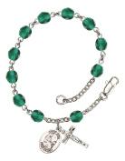 December Birthstone Bead Rosary Bracelet with Saint Fina Charm, 19cm