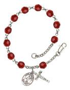 July Birthstone Bead Rosary Bracelet with Saint Sebastian Track and Field Charm, 19cm