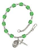 August Birthstone Bead Rosary Bracelet with Saint Christopher Charm, 19cm