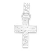 .925 Sterling Silver Hammered Latin Cross Charm Pendant