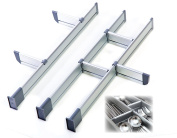 Adjustable Drawer Organiser, Customizable, Elegant Aluminium, for Clutter Free Kitchen, Junk Drawer, Office, Clinic (9 Dividers Set - Small   for Drawers 39cm - 44cm long) by Practical Comfort