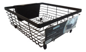 Black Flat Wire Dish Drying Rack with Cutlery Holder