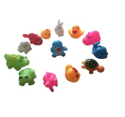 1 Pack/13 Pieces Summer Children Baby Playing Bath Swimming Pool Water Animals Toy,lovely Silicone Animals Toy for Kids