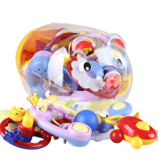 Sproutoy Baby Rattle Teether and Toy Set 7 Fun and Colourful Toys with Pig Coin Bank Fancy Toy