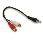MyCableMart RCA Plug/2 RCA Jack cable (1 RCA Male to 2 RCA Female) - 15cm
