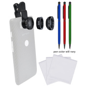 Zuma 3-in-1 Clip-on Fisheye, Macro & .67x Wide-Angle Lens Set for Smartphones & Tablets with (3) Stylus Pens + (3) Microfiber Cleaning Cloths + Kit