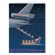 Aerial Refuelling Christmas Card - Military 18 Cards & Envelopes - Air Force Tanker Refuels Santa