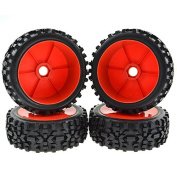 Rowiz 1:8 RC Buggy Hex 17mm Wheels Concentric Soft Rubber Tyres for 1:8 Off Road Buggy Red Pack of 4