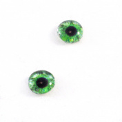 8mm Glass Eyes in Green Pair of Human Crafting Supply Flatback Cabochons for Doll Taxidermy or Jewellery Making