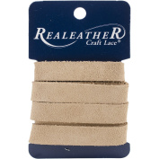 Realeather Crafts Suede Strip, 1.3cm by 90cm , Beige