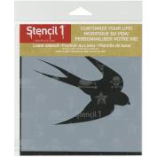Stencil1 S1_6P_12_S6 Tattoo Bird Stencil, 15cm by 15cm , White