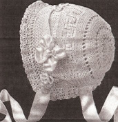 Vintage Crochet PATTERN to make - Antique Baby Cap Hat Bonnet Greek Key Design. NOT a finished item. This is a pattern and/or instructions to make the item only.