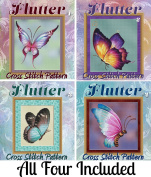 Four Flutters (#1-4) Butterfly Cross Stitch Patterns - Beautiful Rich Colour Designs