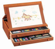 103 Piece, Young Artist Oil Pastels, Colour Markers, Colour Pencil, Water Colour and Pencil Set In Wooden Box