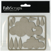 Fabscraps Die-Cut Clouds & Raindrops Chipboard Embellishments, 10cm by 11cm , Grey