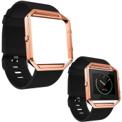 NEW Trend! For Fitbit Blaze Smart Watch Soft Silicone Watch Band Wrist strap + Rose Gold Metal Frame