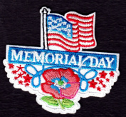 """MEMORIAL DAY"" w/USA FLAG-Iron On Embroidered Applique/Patriotic,Symbol,Freedom"