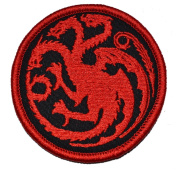 Targaryen Dragon - Game of Thrones 7.6cm Diameter Patch with Fastener - Black with Red