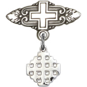 Sterling Silver Baby Badge with Jerusalem Cross Charm and Badge Pin with Cross 2.2cm X 1.9cm