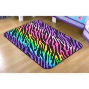 Your Zone Rainbow Zebra Faux Mink Rectangular Rug, Multi-Colour, 0.6m x 0.9m