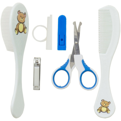 Baby Manicure Set: Baby Brush, Combo, Safety Scissors, Clippers with Safety Holder | Blue Boy