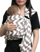 Vlokup Baby Ring Sling Carrier for Newborn Original Adjustable Infant Lightly Padded Wrap Breastfeeding Privacy 100% Cotton Grey Wave