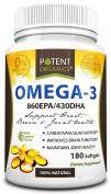 Potent Organics (Burpless) Omega-3 Fish Oil. Optimised EPA 860mg/DHA 430mg.180 Softgel Pills Infused With Lemon Oil.