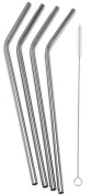 Stainless Steel Reusable Bendy Style Drinking Straws with Cleaning Brush - Set of 4
