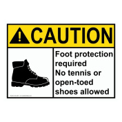 ComplianceSigns Plastic ANSI CAUTION Foot Protection Required No Open-Toed Shoes Sign, 25cm X 18cm . with English Text and Symbol, White