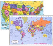 World Placemat + USA Placemat, Laminated Educational Placemats