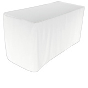 Fitted 1.8m - White Tablecloth - 100% Polyester Rectangular Table Cover - By Utopia Kitchen