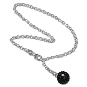 SilberDream anklet gltter ball with black Zirconia, 925 Sterling Silver 25cm SDF010S