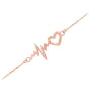 Dainty 14k Rose Gold Heartbeat Bracelet, 19cm Adjustable to 20cm