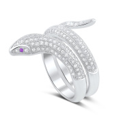 Sterling Silver Simulated Diamond Wrap Around Snake Ring
