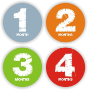 Baby Stickers - Baby Monthly Stickers - Solid Colours Baby Month Stickers - Baby Shower Gift