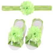 ZebraStory Baby Girl Headband + Barefoot Sandals Lace Flower Bands Elastic Foot Hair Accessories
