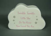 Ceramic Pink and White Little Girls Cloud Money Box with Twinkle Twinkle Verse