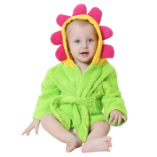 DINGANG® Baby Hooded Bathrobe | Super Soft and Absorbent Cotton Baby Bathrobe with Towel Flower Hooded, Perfect for Baby 0 to 2 Years Old, Green