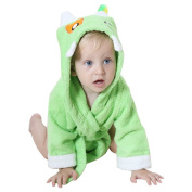 DINGANG® Baby Hooded Bathrobe | Super Soft and Absorbent Cotton Baby Bathrobe with Cute Hooded, Perfect for Baby 0 to 2 Years Old, Green
